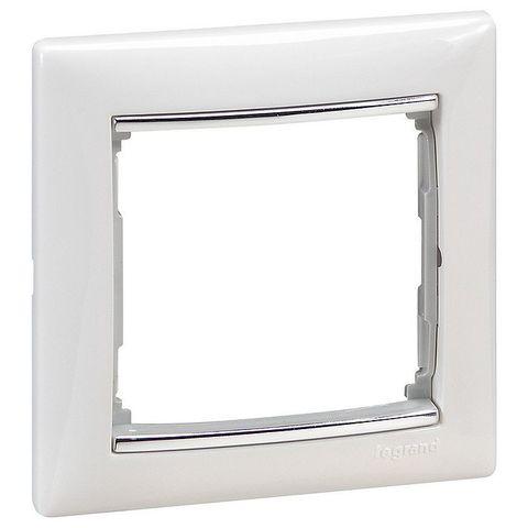Рамка на 1 пост. Цвет Белый-серебряный штрих. Legrand Valena Classic (Легранд Валена Классик). 770491