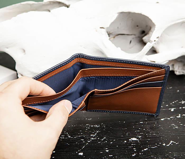 WL320-3 Классический кошелек для купюр и карт из синей кожи, «Moriz» фото 07