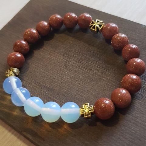 Браслет из натуральных камней: оранжевый Авантюрин и Лунный камень