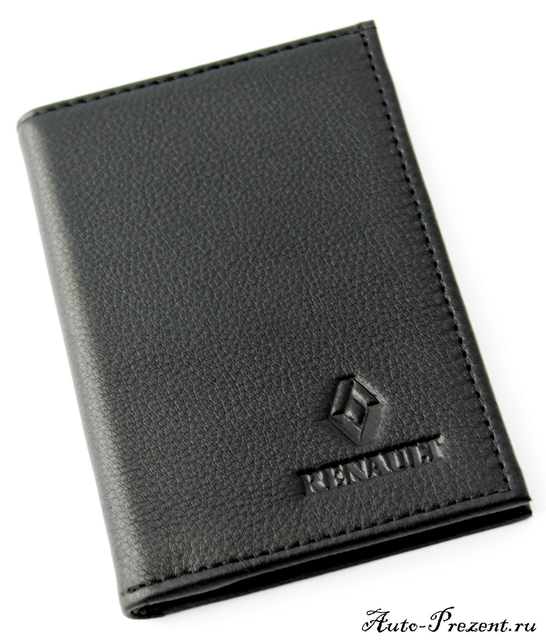 Портмоне для автодокументов из натуральной кожи с логотипом RENAULT