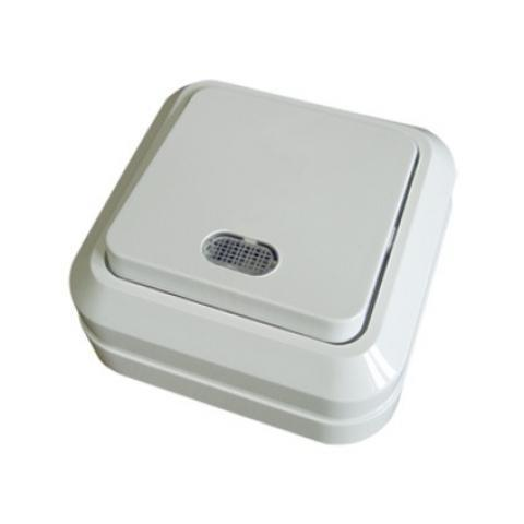 Выключатель 1-кл. открытой установки с подсветкой IP20 10А, белый