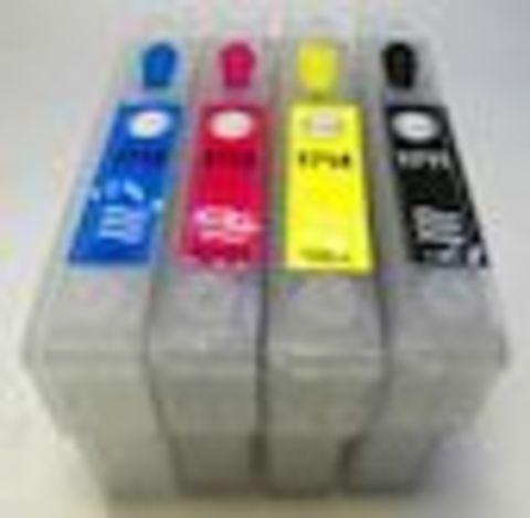 Перезаправляемые картриджи Epson Expression Home XP-33. Комплект 4 штуки. Картриджи оснащены авточипами.