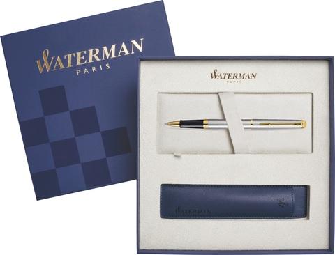 Подарочный набор Ручка-роллер Waterman Hemisphere Essential, Stainless Steel GT  с чехлом
