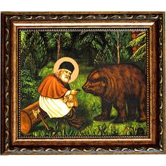 Серафим Саровский кормит медведя. Икона на холсте.