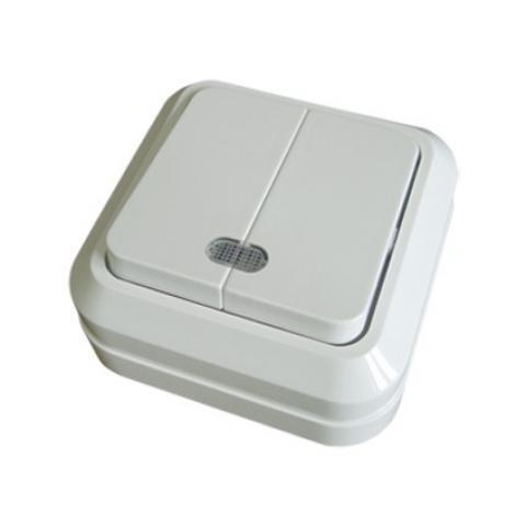 Выключатель 2-кл. открытой установки с подсветкой IP20 10А, белый