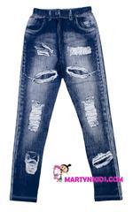285 лосины рваный джинс