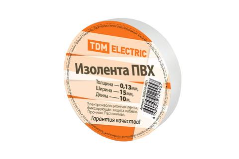 Изолента ПВХ 0,13*15мм Белая 10м TDM