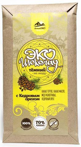 Эко шоколад на меду 70% какао с кедровым орехом 50 гр