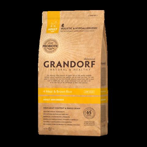 Grandorf 4Meat & Brown Rice Adult Mini Сухой корм для взрослых собак мелких пород Четыре вида мяса с бурым рисом низкозерновой