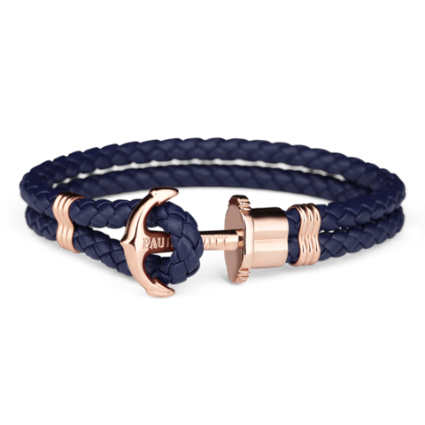 Leather Rose Gold Bracelet Blue
