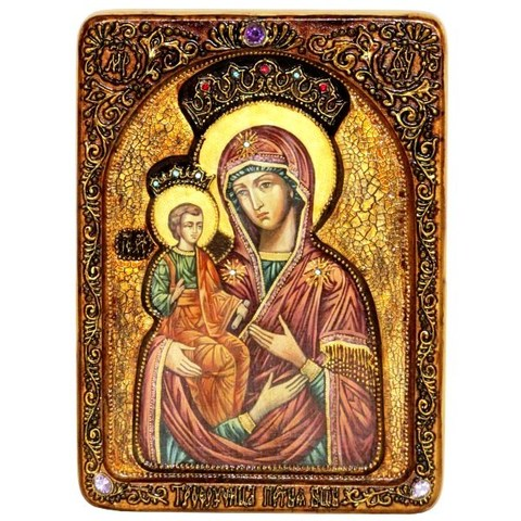 Инкрустированная живописная икона Образ Божией Матери Троеручица 29х21см на натуральном кипарисе в подарочной коробке