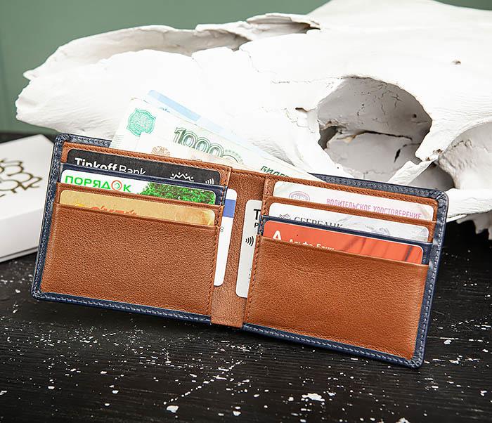 WL320-3 Классический кошелек для купюр и карт из синей кожи, «Moriz» фото 08