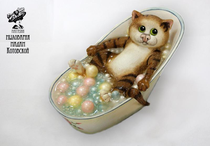 Кот в ванне, форма силиконовая
