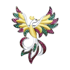 Серебряная брошь с фианитами «Симург»
