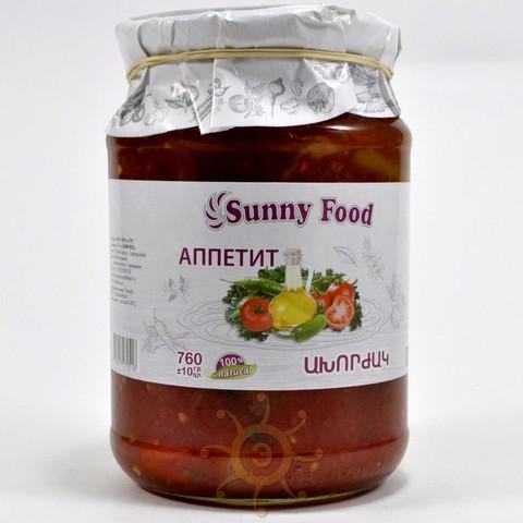 """Закуска """"Аппетитная"""" (стручковый перец с измельченными томатами) Санни Фуд, 760г"""