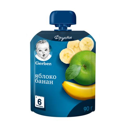 """Пюре детское """"Gerber"""" Яблоко, банан пауч 90г"""