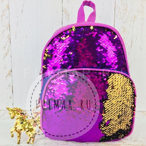 Рюкзак с пайетками меняет цвет Фиолетовый-Золотистый  и брелок-единорог