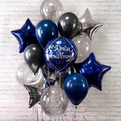 фонтан из черных, синих и серебряных шариков