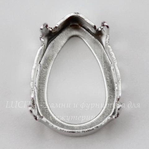 4320/S Сеттинг - основа для страза в виде капли 18х13 мм (цвет - античное серебро)