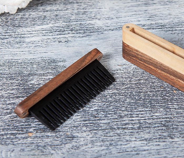 RAZ361 Гребень для бороды из дерева, ручная работа фото 05