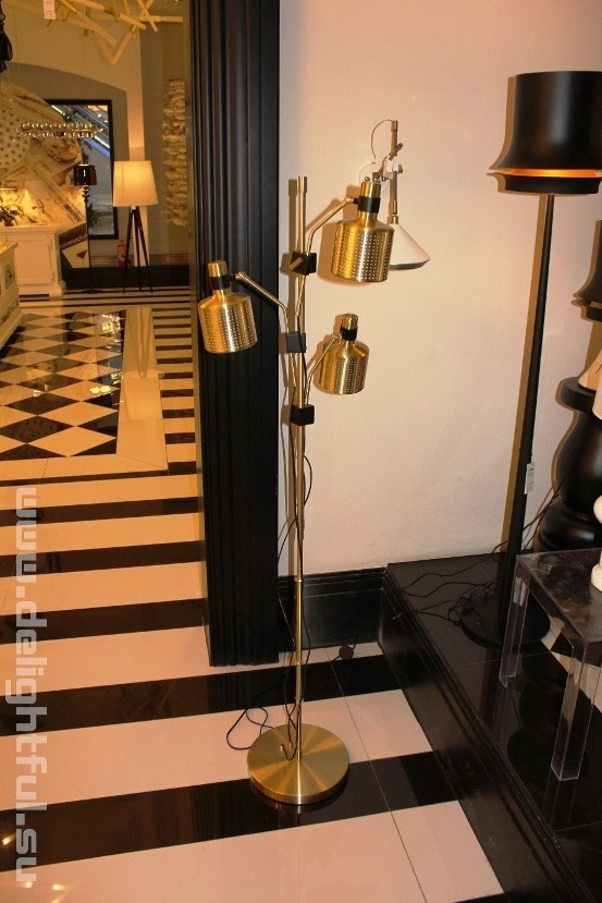 торшер Bert Frank Riddle Floor Lamp Black  & Brass