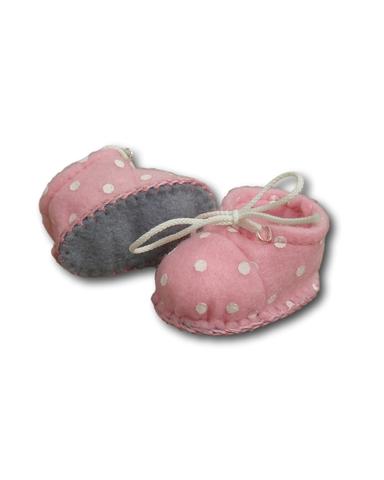 Ботиночки из фетра в горошек - Розовый / горох. Одежда для кукол, пупсов и мягких игрушек.