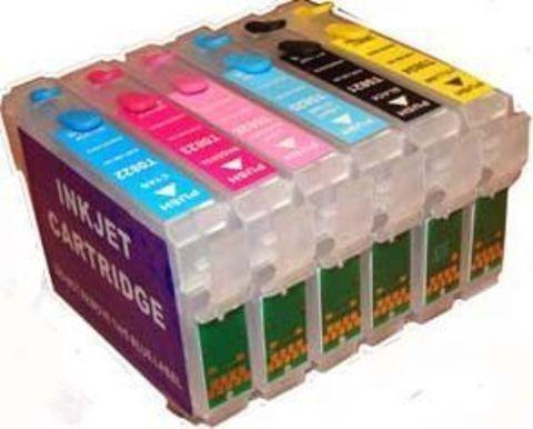 Перезаправляемые картриджи Epson T50 (T0821-T0826). Комплект 6 штук с чипами
