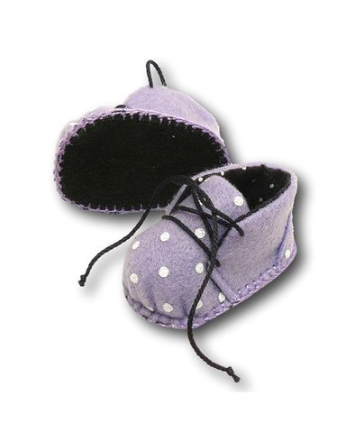 Ботиночки из фетра на подкладке - Сиреневый / горох. Одежда для кукол, пупсов и мягких игрушек.