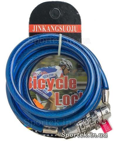 Велозамок с кодом на стальном тросе 6 х 1130 мм с синим виниловым покрытием
