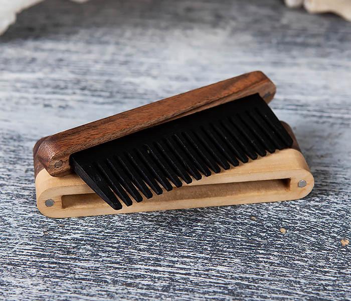 RAZ361 Гребень для бороды из дерева, ручная работа фото 07