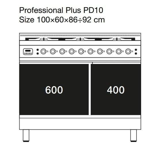 Газовая плита ILVE PD10INE3, фурнитура бронза