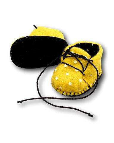 Ботиночки из фетра на подкладке - Желтый / горох. Одежда для кукол, пупсов и мягких игрушек.