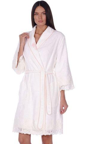 GLORIA ГЛОРИЯ кремовый женский бамбуковый халат Maison Dor Турция