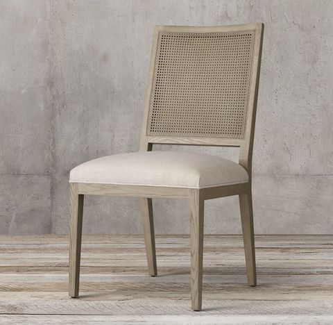 French Contemporary Square Cane Back Fabric Side Chair