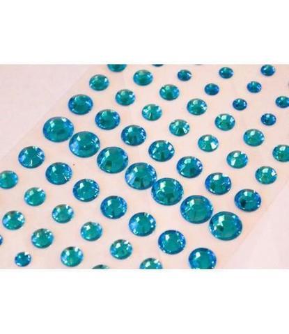 Стразы самоклеющиеся круглые разного размера 78 шт голубые