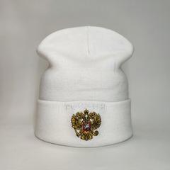Вязаная шапка с эмблемой герба России (Russia) белав