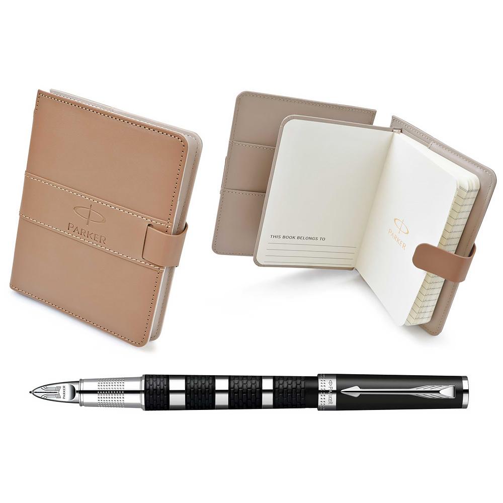 Набор подарочный Parker Ingenuity - Black Rubber CT, ручка 5th пишущий узел, F + записная книжка