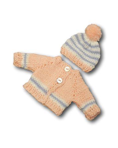 Вязаный жакет и шапочка с помпоном - Розовый / голубой. Одежда для кукол, пупсов и мягких игрушек.