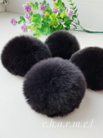 Помпоны, кролик 5-6 см, цвет Черный, 2 шт