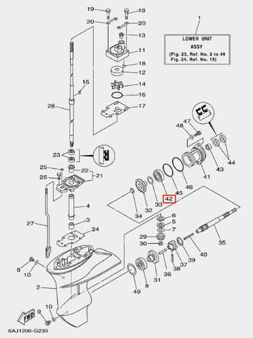 Подшипник шестерни задней передачи для лодочного мотора F20 Sea-PRO 6005 (23-42)