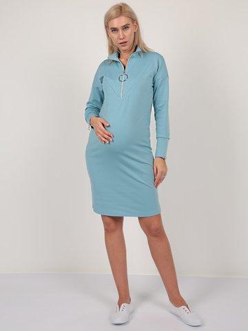 Евромама. Платье для беременных и кормящих трикотажное с молнией, серо-голубой