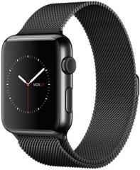 Умные часы Apple Watch 42мм из стали «чёрный космос», миланский браслет «чёрный космос» MNQ12
