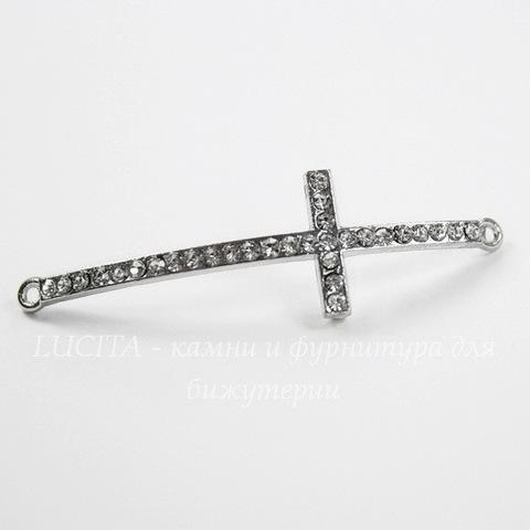 """Коннектор """"Крест"""" (1-1) с прозрачными стразами 52х15 мм (цвет - античное серебро)"""