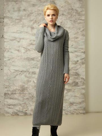 Платье прямого силуэта со спущенной линией плеча и объемным воротником - фото 2