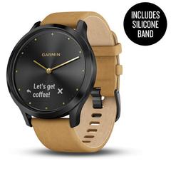 Умные часы Garmin Vívomove HR Premium черный оникс со светло-коричневым кожаным ремешком 010-01850-00