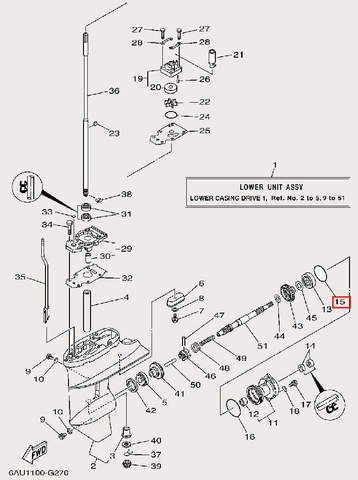 Кольцо уплотнительное Φ3.2×Φ50 для лодочного мотора F9,9 Sea-PRO (25-15)