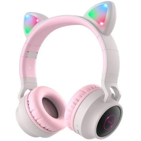 Наушники Bluetooth HOCO W27 Cheerful Cat Ear Led, gray-pink