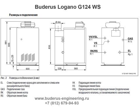 Buderus Logano G124-32WS Газовый Напольный Чугунный Атмосферный котел (RU-TOP) (Размеры подключения)