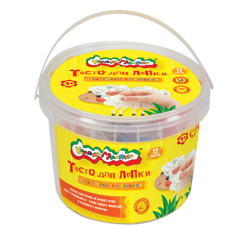 Тесто для лепки Каляка-Маляка® в банке, 12 цветов, 360 г, 2 формочки/ТЛБКМ-12/30