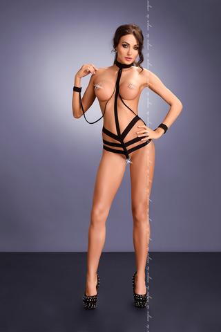 Сексуальное боди из черных резиночек с наручниками
